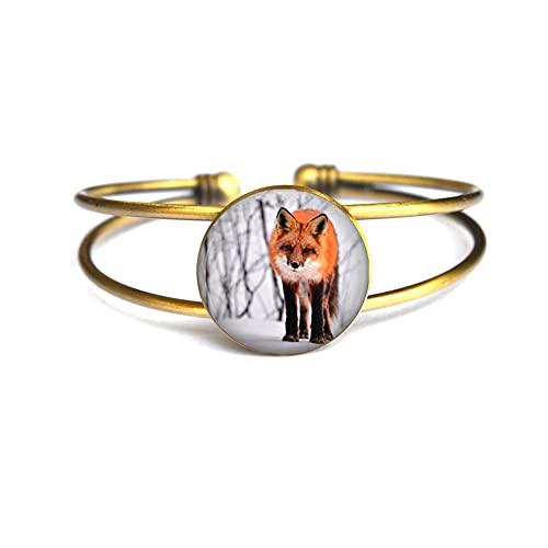 Pulsera hecha a mano Fox in The Snow, regalo de Navidad, regalo de Halloween, joyería de dama de honor, # 223