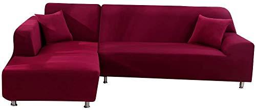 Copridivano con Penisola Elasticizzato Chaise Longue Copridivano Angolare Antimacchia Sofa Cover componibile in Poliestere a Forma di L 2PCS, Federe Protettive per Divano(Vino rosso,2 Posti+3 Posti)