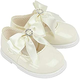BABY GIRLS CHRISTENING PARTY SOFT PATENT PRAM SHOES IVORY BLACK PINK DIAMANTE