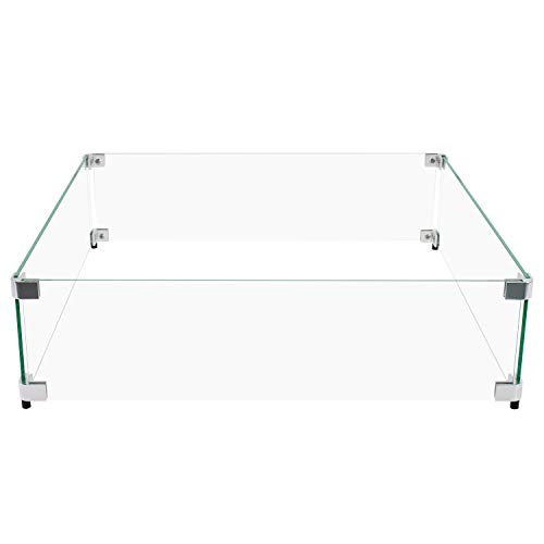"Celestial Fire Glass - 23.5' x 23.5' x 6' Flame/Wind Guard, fits Celestial 18"" Square Fire Pit Burner Pans"