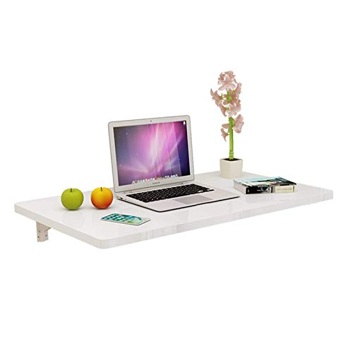 GLF Mesa plegable montada en la pared, mesa de bar, mesa transformable, mesa plegable, estante, diseño de esquina redonda, evita colisiones, blanco, 70 x 40 cm.