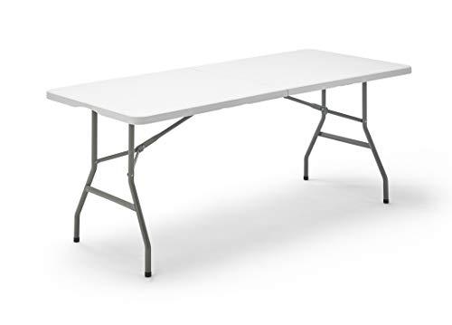 KG KITGARDEN - Mesa Plegable Multifuncional, 180x74x74cm, Blanco, Folding 180