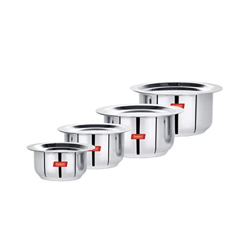 Sumeet Stainless Steel Mini to Small Size Flat Bottom Induction & Gas Stove Friendly Tope/Patila/Cookware Set of 4Pcs with Lids (370ML, 550ML, 800ML, 1100ML)