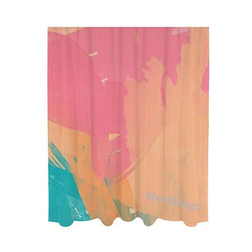 Mesllings - Cortina de gasa para ventana, diseño de flores, color arcoíris, 55