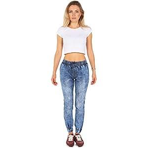 Denim Joggers for Women Pull-on Distressed Elastic Waist Dressy Stretch Pants