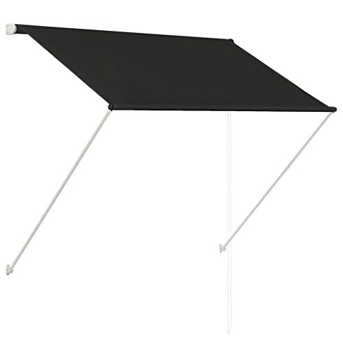 vidaXL 143758 luifel intrekbaar antraciet 150x150cm klem luifel zonwering balkon, stof, één maat