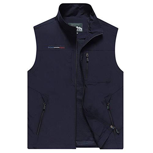 Panegy Multi-Taschen Jacke Jagd Angeln Wandern Funktionsweste mit Reißverschluss Herren Outdoor Weste Camping Vest Blau - Hersteller 6XL/EU-Größe 54-56