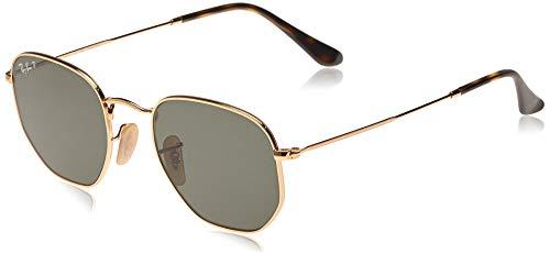 RAY-BAN RB3548N Flat Lens Hexagonal Sunglasses, Gold/Green Polarized, 51 mm