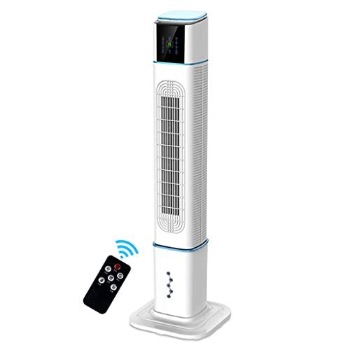 Mobile Air Conditioners Ventilador de Torre Ventilador oscilante Control Remoto de enfriamiento silencioso Potente de pie 3 velocidades Modo de Viento Ventilador de Piso sin Hojas Dormitorio Blanco