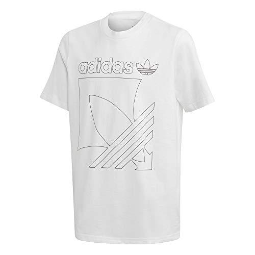 adidas Badge Tee, T-Shirt Unisex Bambini, White, 8-9Y