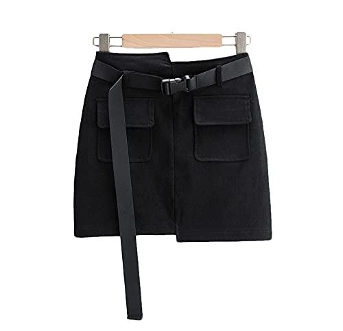 ERTYUIO Falda Corta Cintura Alta Longitud De La Pierna Irregular Bolsillo Grande Herramientas Falda Corta Falda De Mujer-C_L