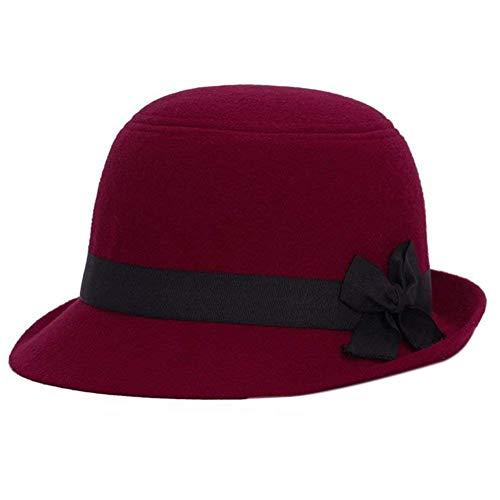 Elodiey Gorros Señoras Hombres Sombrero De Fieltro Bowknot Retro Hipster Sombrero Plano Derby Años 20 Bowler Sombreros Al Aire Libre Gorras