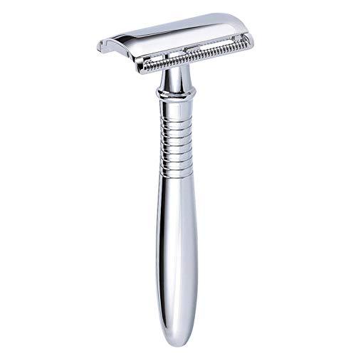 Maquinilla de afeitar para hombres - Cuchilla de afeitar de acero en forma de T de doble filo Cuchillo de peluquero clásico Barba personal Cuidado del cabello 5 Hoja de platino