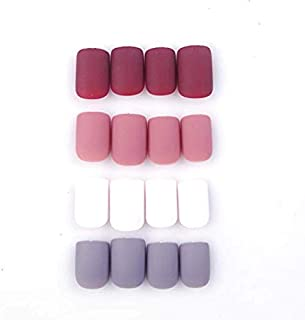 96Pcs Colorful Acrylic Nails Full Cover Short Square Matte False Gel Nails Art Tips Sets (Romantic Flowers)(Soft and Thin)