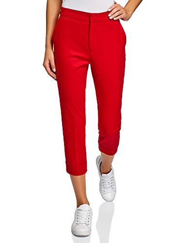 oodji Ultra Mujer Pantalones de Algodón con Dobladillos