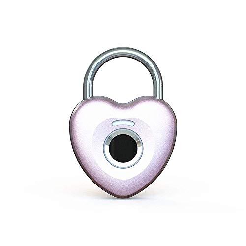 Candado de huellas digitales Smart Touch Bloqueo del metal a prueba de agua antirrobo sin llave inteligente for Gym Locker, Escuela armario bloqueo, mochila, maleta, equipaje de viaje ( Color : Pink )
