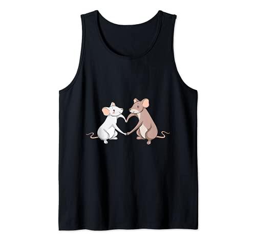 Rat Love Heart I Cool Rats Re e Mouse Motivo Canotta