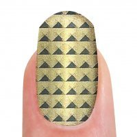 Nagelfolien goldfarben mit schwarzen Dreiecken, 16 Folien, selbstklebend