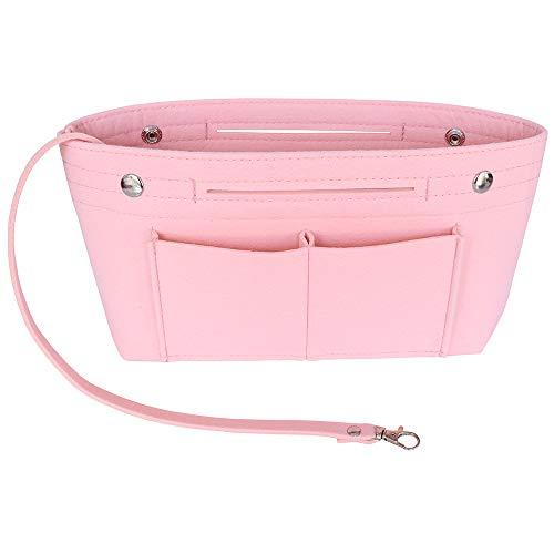 SHINGONE Filz Handtaschen Organizer Tasche Damen, Taschenorganizer Bag in Bag, Innentaschen für Handtaschen mit Schlüsselanhänger - Hellrosa-S
