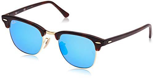 Ray-Ban Clubmaster - Gafas de sol para hombre, Marrón (Marco: Havana, Vidrio: Azul Flash 114517), 49 milímetros