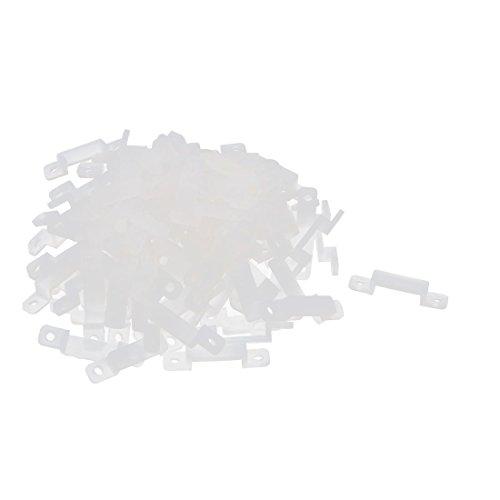 Sourcingmap A15082500ux0470 Coque en Silicone Clips pour Fixer 12 mm Light Strip – Blanc (Lot de 100)