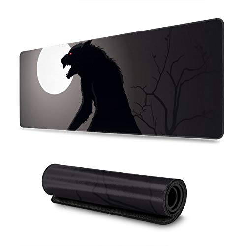 Lurking Werewolf Extended Gaming Mouse Pad Large Mousepad with Stitched Edges, Keyboard Pads Mat for Gamer Computer Office Home 31.5x11.8 in
