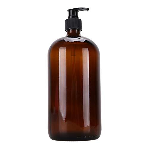 Cabilock Pumpflasche Braun Glas Pumpspender Leer Nachfüllbar Pumpseifenspender Reinigung Flüssigkeiten Pumpe Flasche für Küche Bad 1000ml