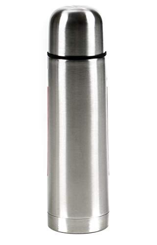 Alpina! Thermoskanne doppelwandig, Thermosflasche Schraubverschluß mit Druckknopf, Deckel als Becher, Isolierkanne hält heiß und kalt, rostfreier Edelstahl, Isolierflasche Fassungsvermögen 0,75 Liter