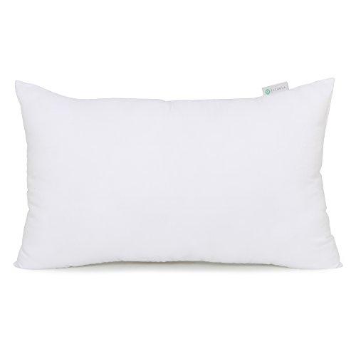 Acanva Hypoallergenic Throw Pillow Insert Soft Rectangle Decorative Form Stuffer Cushion Sham Filler, 12x20, White