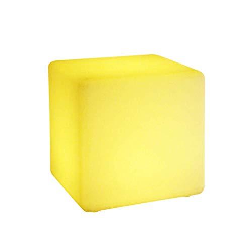 HUANGDA Tabouret Design/Cube/Table d'appoint avec éclairage LED RGB Mobilier Lounge Cube/Table avec télécommande, Alimentation Secteur et Batterie