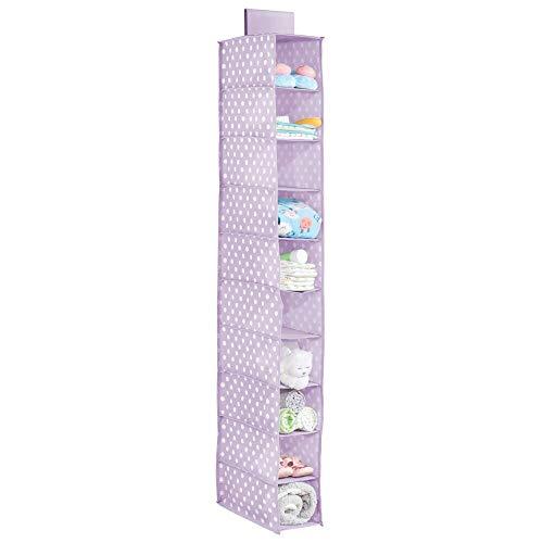 mDesign Hängeregal für den Kleiderschrank – Hängeschrank mit 10 Fächern für Schlafzimmer und Kinderzimmer – Hängeaufbewahrung mit Punkte-Muster aus Stoff für die Kleiderstange – helllila/weiß