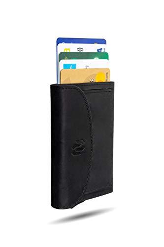 Rango Project Pocket Cartera Tarjetero Hombre Piel con Monedero. Cartera Pequeña Minimalista Mujer Cuero y Aluminio. Tarjetero Metálico Automático Bloqueo RFID (Negro)