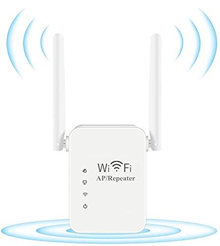 Repetidor Inalámbrico WiFi,2.4GHz 300Mbps Amplificador Señal WiFi con Puerto Ethernet y 2 Antenas Externas,Mini Repetidor Inalámbrico con Botón WPS(Plug and Play,Blanco)