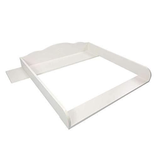 Cambiador Puckdaddy Thore - 108x80x15 cm, Cambiador de Madera en Blanco, Tablero de Cambiador Estrella grabada, Adecuado para Las cómodas Hemnes de IKEA