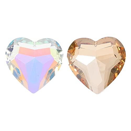 SOLUSTRE 2 Piezas Colgante de Prisma de Cristal en Forma de Corazón Araña Colgante Gota Barra de Cortina Extremos de Lámpara Adornos de Gota para Decoración de Lámpara de Ventilador de