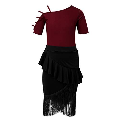 MSemis Vestido de Danza Ballet Maillot Manga Corta con Falda Flecos para Baile Latina Cha Cha Salsa Maillot Gimnasia Ritmica Disfraz Bailarn Nias Vino&Nego 7-8 aos