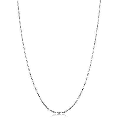 Kooljewelry Sterling Silver Round Cable Chain Necklace (1.2 mm, 16 inch)