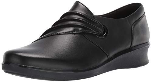 Clarks Women's Hope Shine Shoe, Black Leather, 100 W US