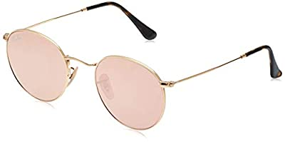 Ray-Ban RB3447N Round Flat Lenses Metal Sunglasses, Shiny Gold/Copper Flash, 50 mm