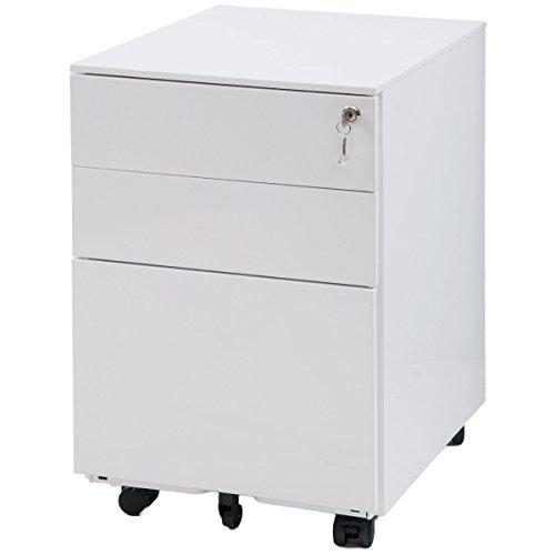 Meritline 3 Drawer File Cabinet Mobile Metal Lockable File Cabinet Under Desk Fully Assembled Except for 5 Castors (White)