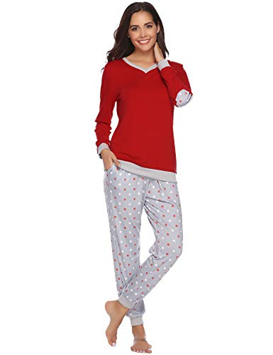 Hawiton Women's Cotton Long Sleeve Pajamas Set Sleepwear Dot Pattern Bottom Lounge Nightgowns
