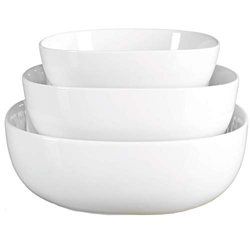 Denmark White Porcelain Chip Resistant Scratch Resistant Commercial Grade Serveware, 3 Piece Serving Bowl Set
