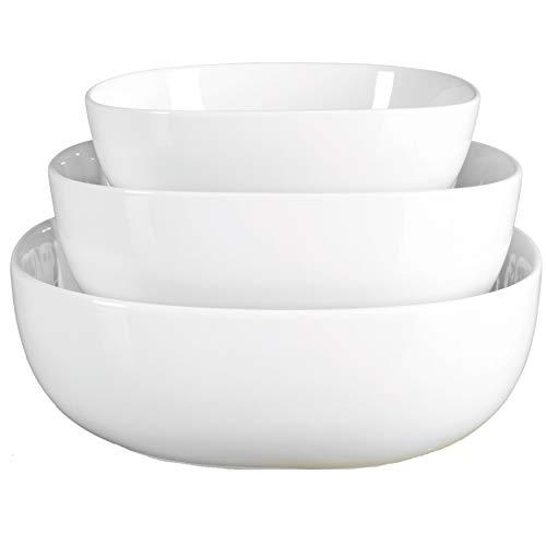 Denmark White Porcelain Chip Resistant Scratch Resistant Commercial Grade Serveware 3 Piece Serving Bowl Set