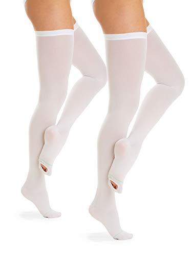 Relaxsan Antitrombo M2370A (2 Paia - Bianco, XL) calze autoreggenti per degenza con punta ispezionabile antiembolismo K1 compressione graduata 18-23 mmHg