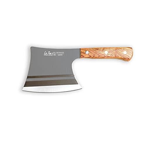 LA TIM'S Cuchillo de carnicero, cuchillo de 0.9 Kg para trabajo pesado con acero forjado a mano con alto contenido de carbono, cuchillo de carnicero para cortar huesos, mango de madera maciza