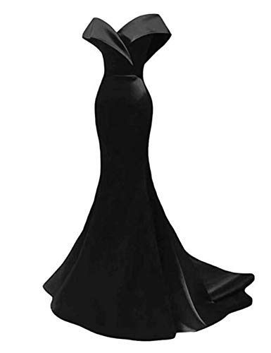 alilith.Z Off The Shoulder Mermaid Prom Dresses 2019 Long Satin Evening Dresses Formal Party Gowns for Women Black, 10