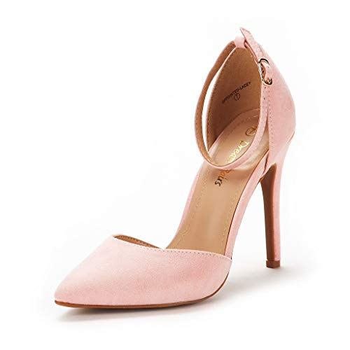 DREAM PAIRS Women's Oppointed-Lacey Pink Fashion Dress High Heel Pointed Toe Wedding Pumps Shoes Size 8 M US