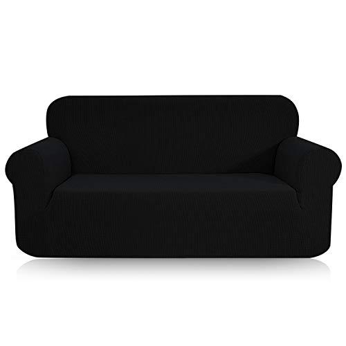 TOPOWN Elastischer Sofabezug, Jacquard Couchbezug Sofaüberwurf Schwarz Sofahusse 2 Sitzer (145-180cm)