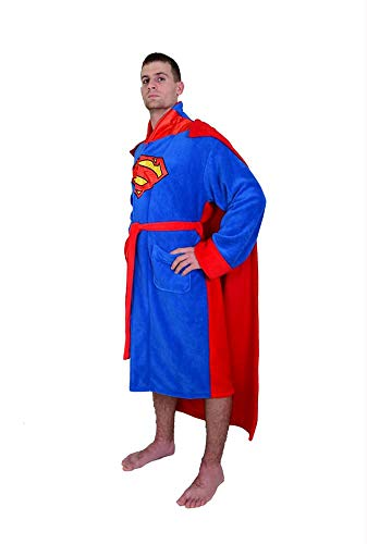 DC Comics Superman Caped Fleece Robe With Satin Emblems On Front And Back