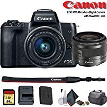 Canon EOS M50 Mirrorless Vlogging Digital Camera with 15-45mm Lens + Camera Bag + 64GB Memory Card + Cleaing Set + More (International Model) (2680C011) - Starter Bundle